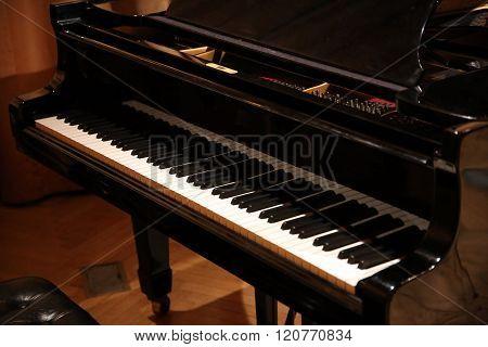Closeup Of Black And White Piano Keys