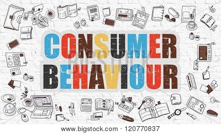 Consumer Behaviour on White Brick Wall.