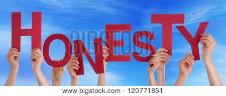 Many People Hands Holding Red Word Honesty Blue Sky