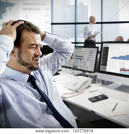 Businessman Stress Recession Financial Crisis Concept