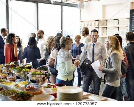 Diversity People Party Enjoyment Buffet Eating Concept