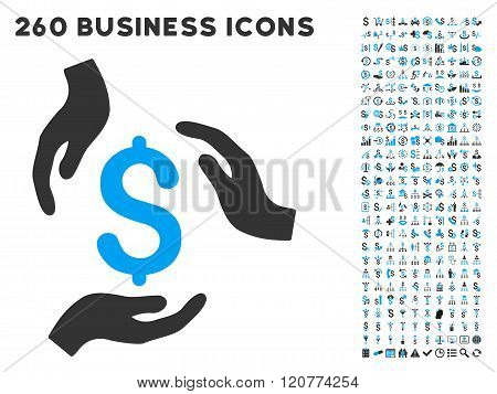 Money Care Hands Icon with Flat Vector Set