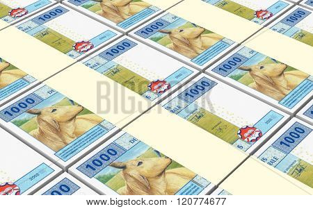Central African CFA francs bills stacked background. Computer generated 3D photo rendering.