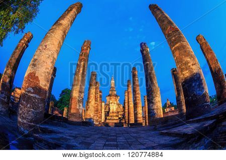 Sunrise Twilight in Wat Mahathat Temple ruin at Sukhothai Historical Park Thailand