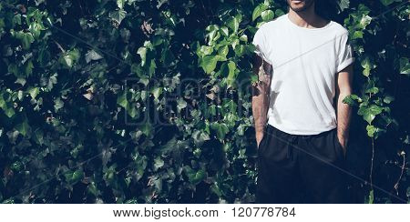 Bearded man with tattoo wearing blank white tshirt and black sunglasses.Green garden wall background
