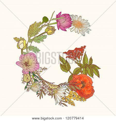 Floral Alphabet. Letter G