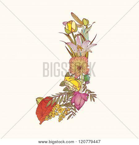 Floral Alphabet. Letter J