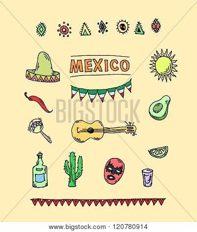 Hand drawn vector set of mexican symbols