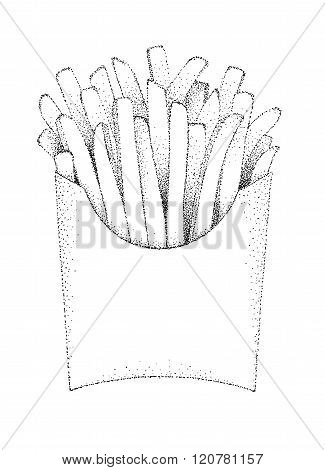 French fries chips illustration old lithography style hand drawn