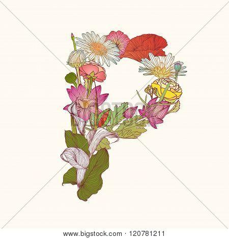 Floral Alphabet. Letter P