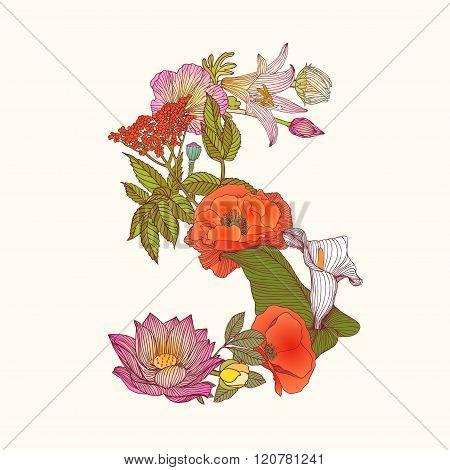 Floral Alphabet. Letter S