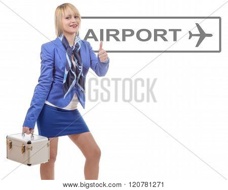 Pretty Blonde Stewardess In Blue Suit With A Small Suitcase