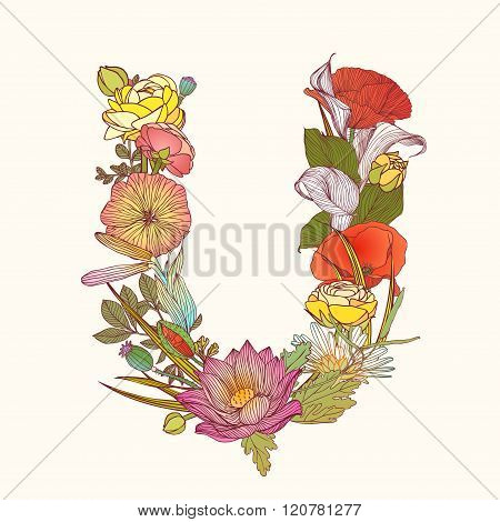 Floral Alphabet. Letter U