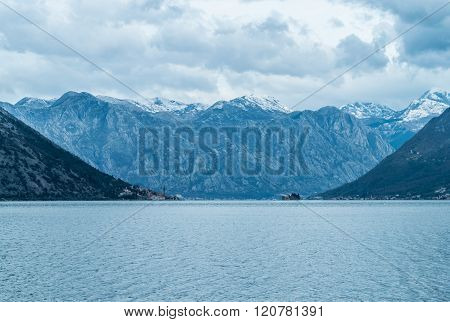 The scenic view on the mountains and Perast