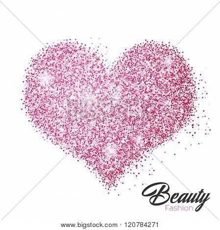 Heart of pink glittering star dust. Love concept.
