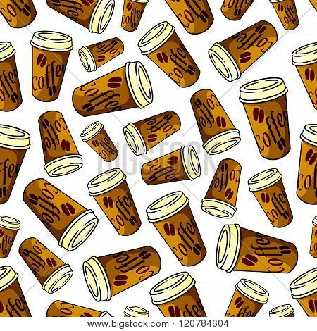 Seamless brown paper cups of coffee pattern