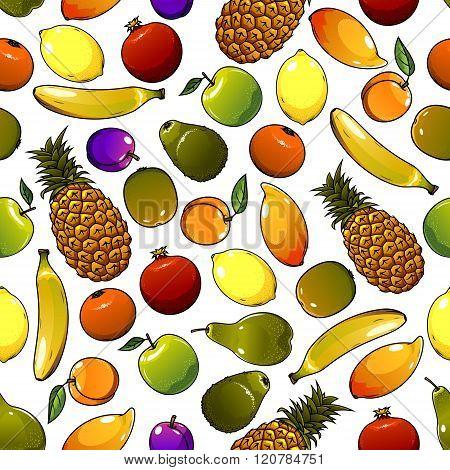Ripe tropical fruits seamless pattern