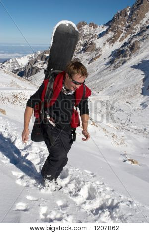 Snowboarder Uphill For Freeride