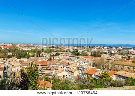 View Of Lower City, Carcassonne, France