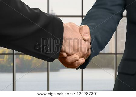 Men shaking hands inside office.