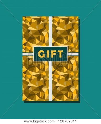 Golden And Cyan Vector Vintage Gift Card Design With Abstract Geometric Rumpled Triangular Graphic B