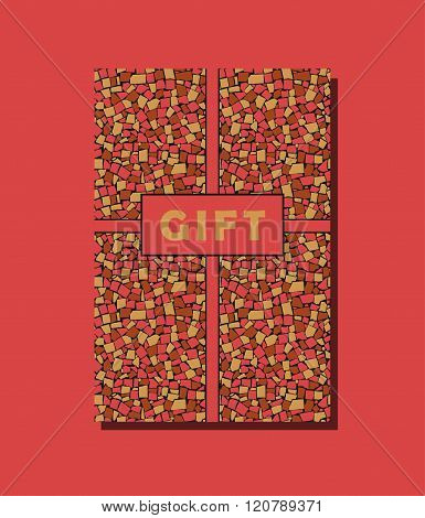 Red, Yellow And Brown Vector Vintage Gift Card Design With Asymmetric Decorative Tiles Wall Backgrou