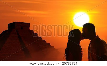 Backlit Loving Couple Honeymoon In Mayan Culture