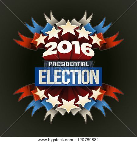 Year 2016 Presidential Election Design. Elements are layered separately in vector file.