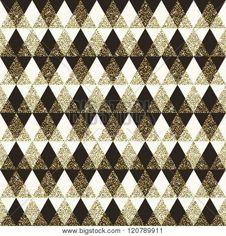 Geometric pattern composed of triangular and rhombus elements - vector seamless background