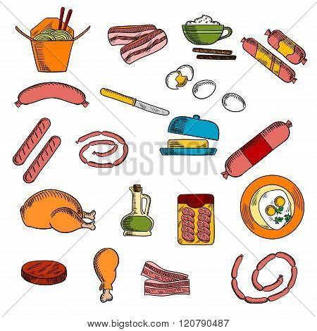 Breakfast food, drink and meat elements