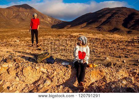 Couple traveling Fuerteventura island