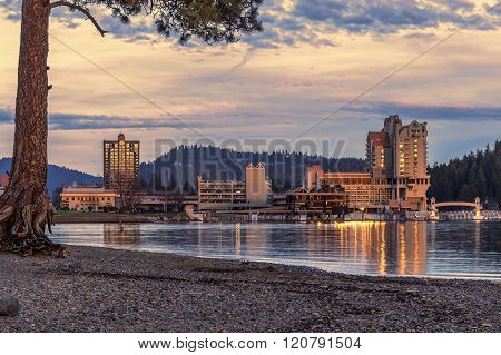 Downtown Coeur D'alene Late In Day.