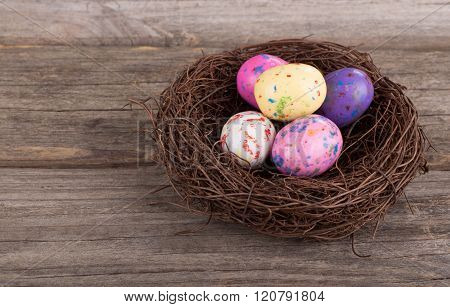 Easter Candy Eggs In A Nest
