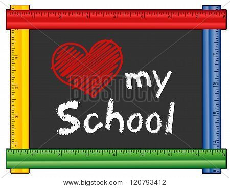 Love My School, Ruler Frame, Big Red Heart Poster ID:120793412