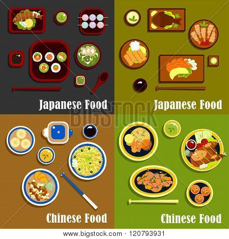 Japanese and chinese cuisine menu