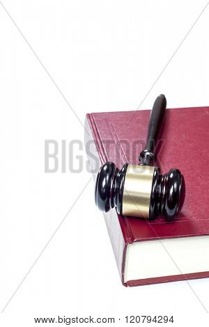 gavel and  book on a white background
