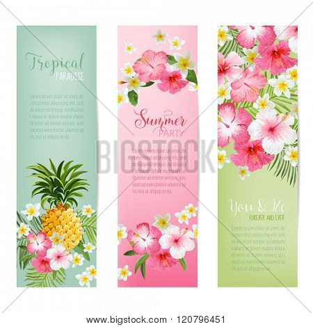 Tropical Flowers and Pineapples Banners and Tags - Vintage Cards - in vector