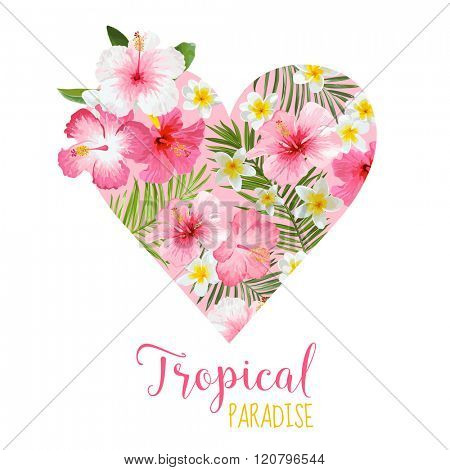 Floral Heart Graphic Design - Tropical Flowers Theme - for t-shirt, fashion, prints - in vector