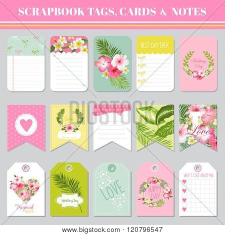 Scrapbook Tags, Cards and Notes - for Birthday, Baby Shower, Party, Design - in vector