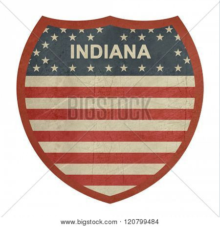 Grunge Indiana American interstate highway sign isolated on a white background.