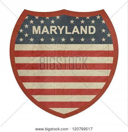 Grunge Maryland American interstate highway sign isolated on a white background.