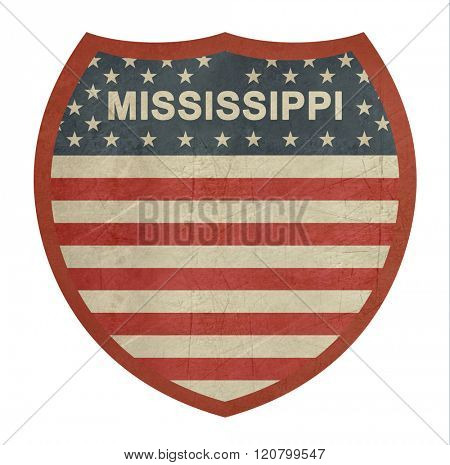 Grunge Mississippi American interstate highway sign isolated on a white background.