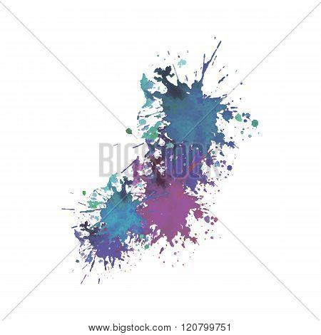expressive watercolor stain with splashes of blue violet purple color.