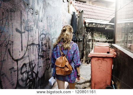 Girl Adventure Traveling Holiday Walking Alleyway Concept