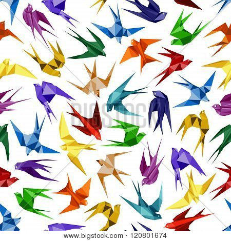 Origami paper swallows seamless pattern