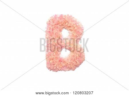 Closeup Pile Of Pink Crystal Stone In B English Alphabet Isolated On White Background