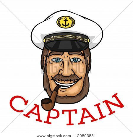 Bearded captain with pipe and white cap