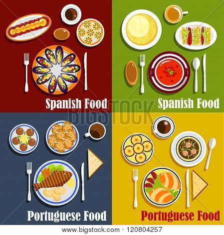 Portuguese and spanish national cuisine