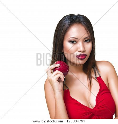 Young Beautiful Woman With Apple