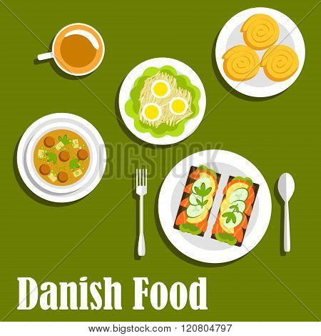Danish national cuisine dishes and sandwiches